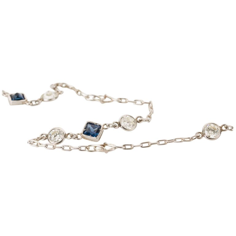Platinum Round Diamond Blue Sapphire Chain Necklace