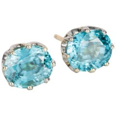 Blue Zircon Crown Stud Earrings