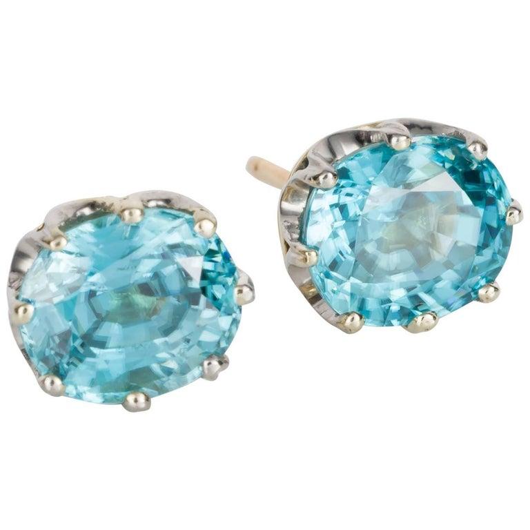 Blue Zircon Crown Stud Earrings