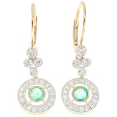 Emerald Diamond Art Deco Style Earrings 18 Carat Yellow Gold Small Drop