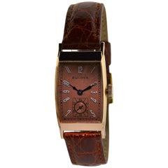 Bulova Solid Rose Gold Art Deco Curvex Style Manual Watch, circa 1940s