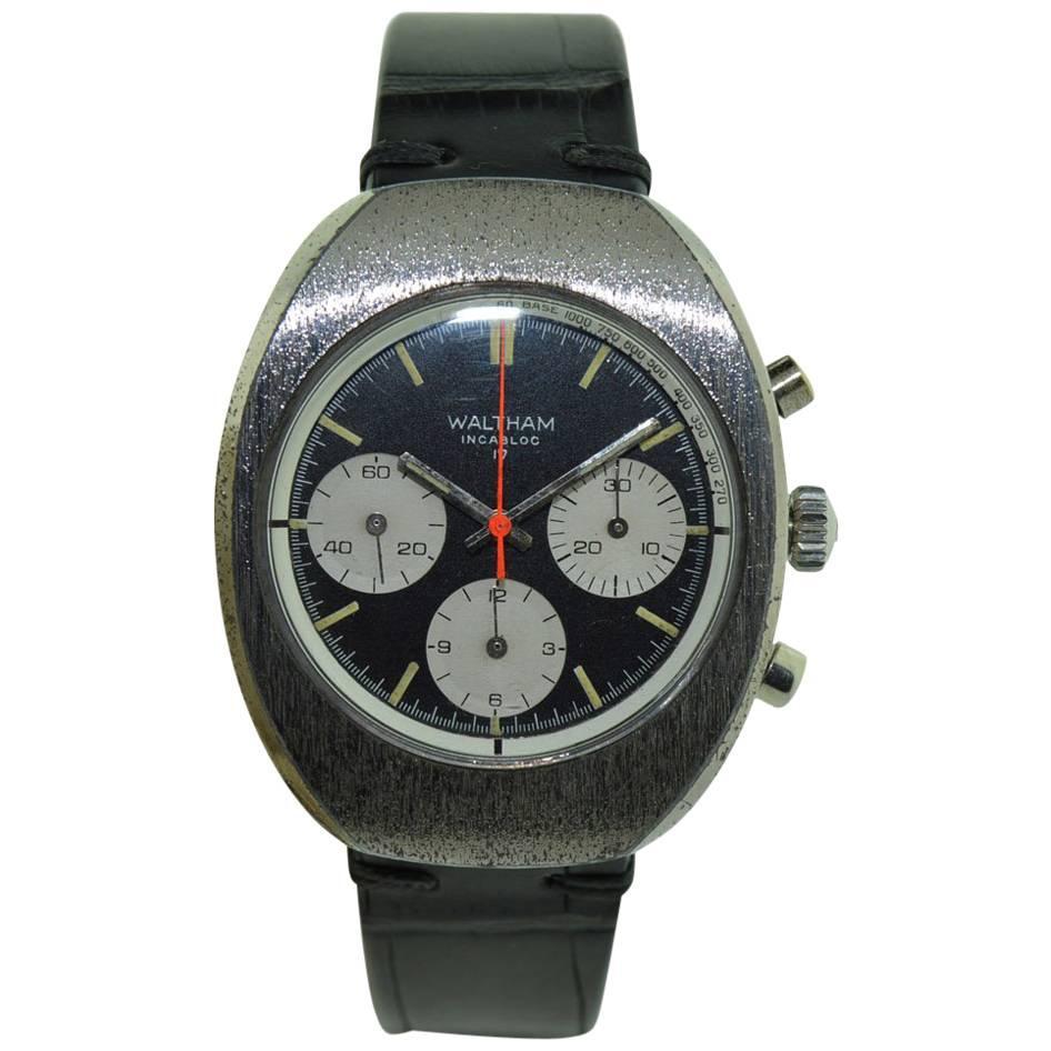 Waltham Chromium Tonneau Shaped Three Register Chronograph Manual Watch
