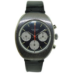 Waltham Chromium Tonneau Shaped Three Register Chronograph Manual Watch