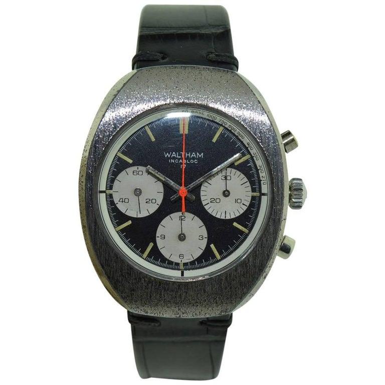 Waltham Chromium Tonneau Shaped Three Register Chronograph Manual Watch For Sale