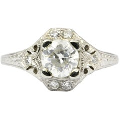 Art Deco White Gold Diamond Filigree Engagement Ring