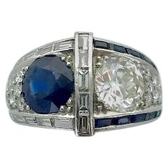 1930s Art Deco Diamond Sapphire Platinum Ring