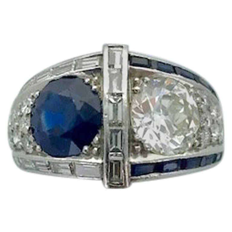 1930s Art Deco Diamond Sapphire Platinum Ring