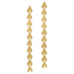 Timeless Yellow Gold-Plated Sterling Silver Arrow Shaped Greek Drop Earrings