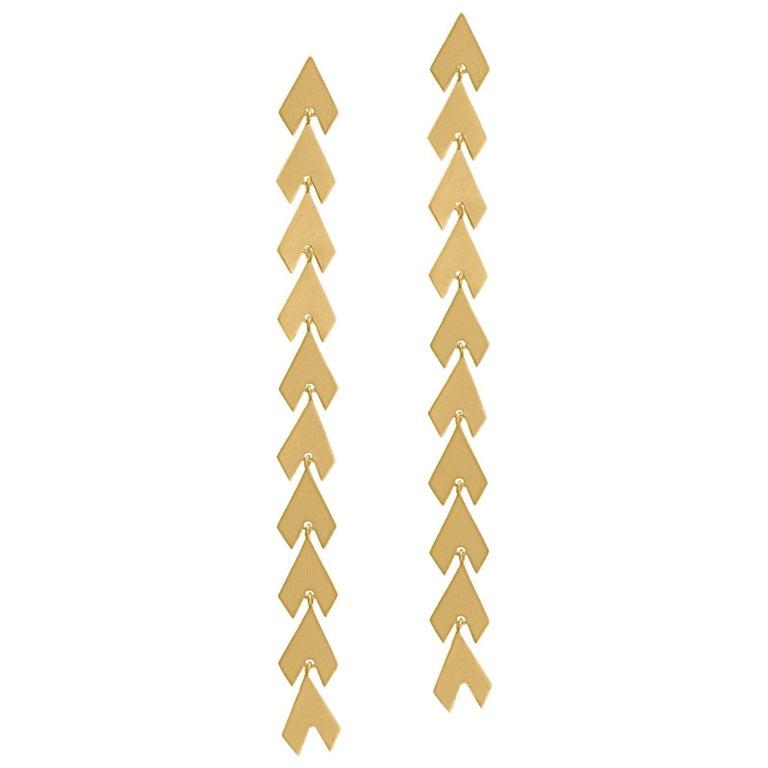 Timeless Yellow Gold-Plated Sterling Silver Arrow Shaped Greek Drop Earrings