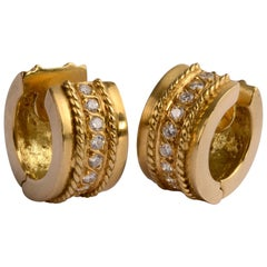 Diamond Gold Huggie Earrings