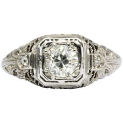 Art Deco White Gold Old European Cut Diamond Engagement Ring