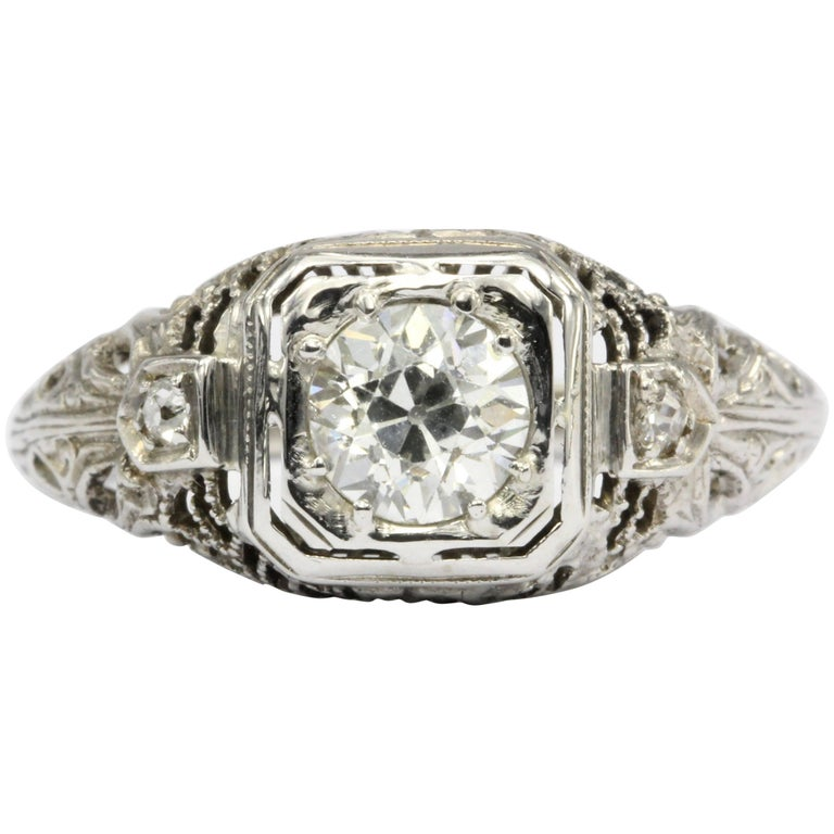 Art Deco White Gold Old European Cut Diamond Engagement Ring