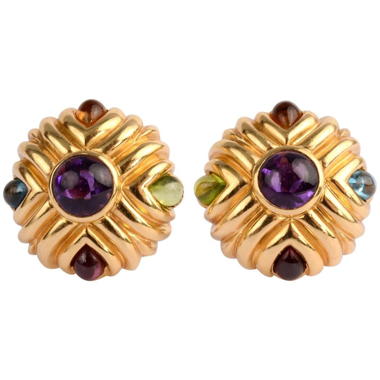 Gold Earrings with Amethyst and Gemstones For Sale