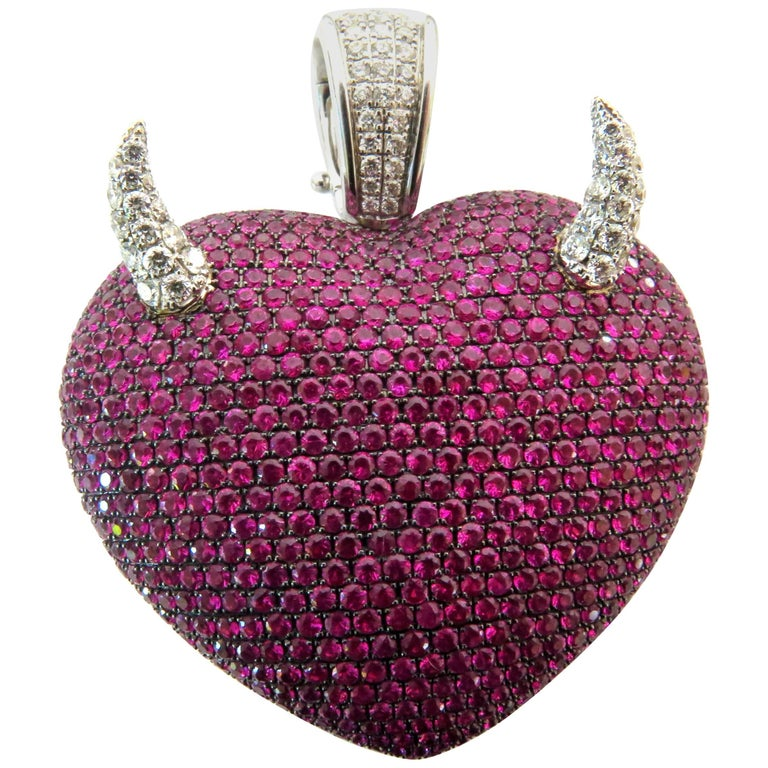 Spectacular Theo Fennell Large Ruby Heart with Diamond Horns Gold Pendant Charm