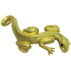 Kieselstein-Cord Enormous Gold Lizard/Salamander Sapphire Pin/Brooch Dated 1990