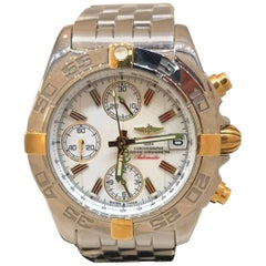Breitling Chrono Galactic 18 Karat Gold and Stainless Steel Bracelet Men's Watch