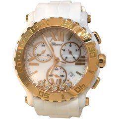 Chopard Happy Sport Chronograph Rose Gold Bezel Dial Rubber Band Lady's Watch