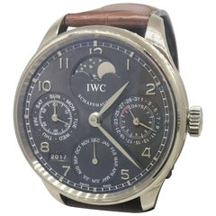 IWC Portuguese Perpetual Calendar Automatic White Gold Grey Dial Watch IW302507