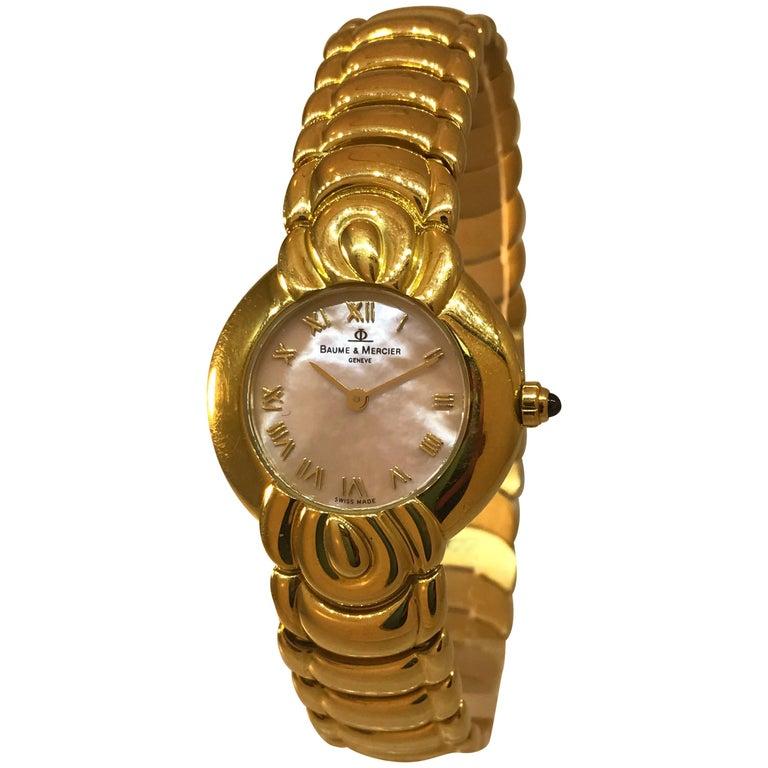 Baume & Mercier 18 Karat Gold Pink Mother-of-Pearl Dial Bracelet Women's Watch
