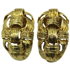 1970s Italian Gold Basketweave Earclips