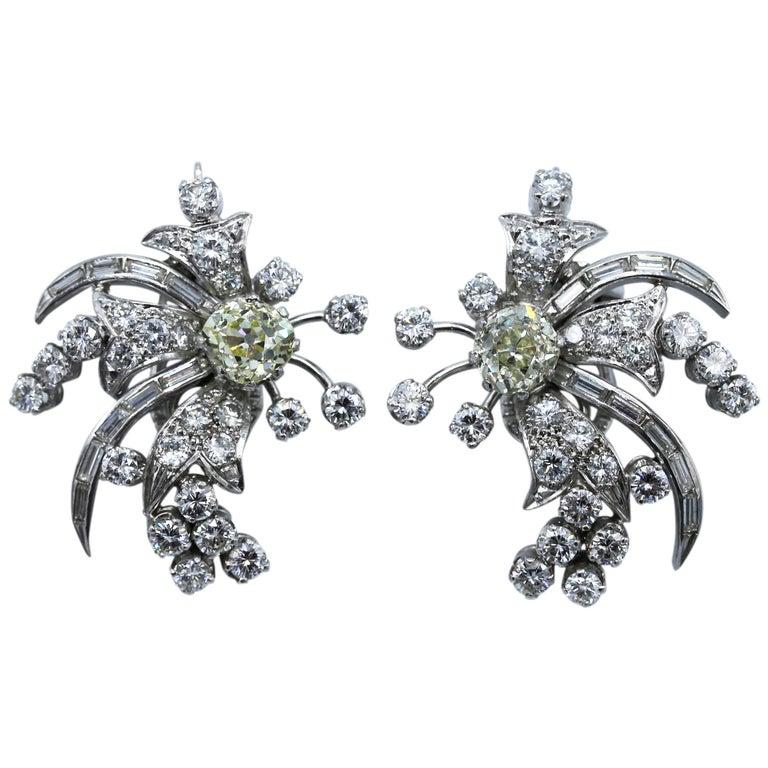 1950s Diamond and Platinum Spray Earclips