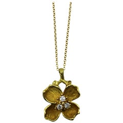 Tiffany & Co. Diamond and Gold Flower Pendant