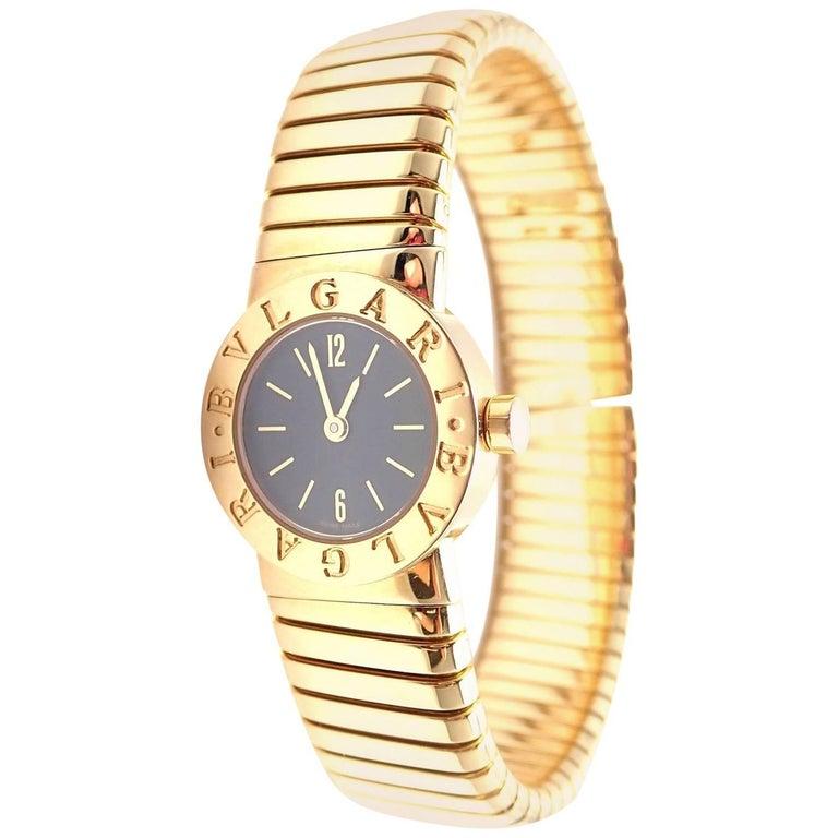 Bulgari Yellow Gold Tubogas Serpenti Snake Quartz Bracelet Wristwatch