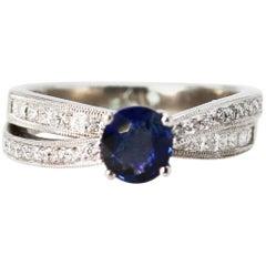 0.85 Carat Sapphire and Diamond Ring