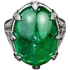 Cabochon Emerald Diamond Cocktail Ring