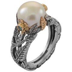 Emma Chapman Pearl Emerald Yellow Gold Silver Ring