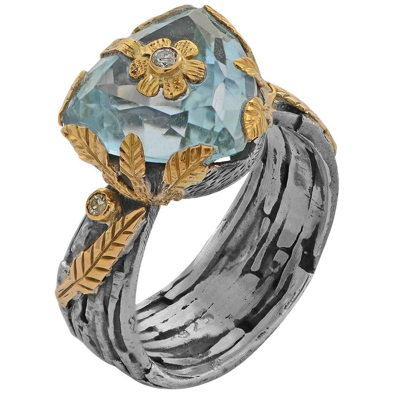 Emma Chapman Blue Topaz Diamond Yellow Gold Silver Ring