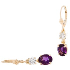 Kian Design 18 Carat Yellow Gold Oval Amethyst Round Diamond Earrings