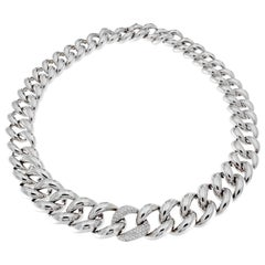 Classic Groumette Necklace 18 Karat White Gold and White Diamond