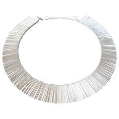 1970s Anton Michelsen Denmark Scandinavian Modernist Silver Fringe Necklace