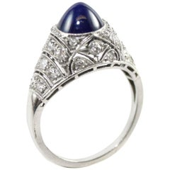 Sapphire Dome and Diamond Ring