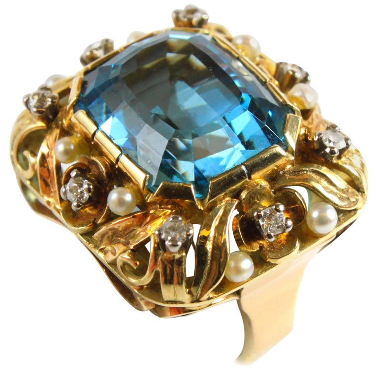 Aquamarine, Pearl and Diamond Retro Ring