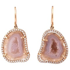 Karolin Rose Gold White pavé Diamond Hook Drop Earrings Agate Stud