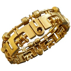 1970s Arnd Heuer Machine Aesthetics Kinetic Modernist Gold Bracelet Bangle