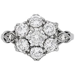 Vintage Diamond Daisy Cluster Ring 2.15 Carat Total, circa 1940s