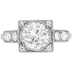 Art Deco 2.19 Carat Diamond Solitaire Ring, circa 1930s