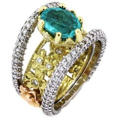 Stambolian Paraiba Copper Bearing Tourmaline Diamond Gold Ring