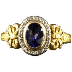 French Victorian Sapphire Diamond 18 Carat Ring, circa 1900