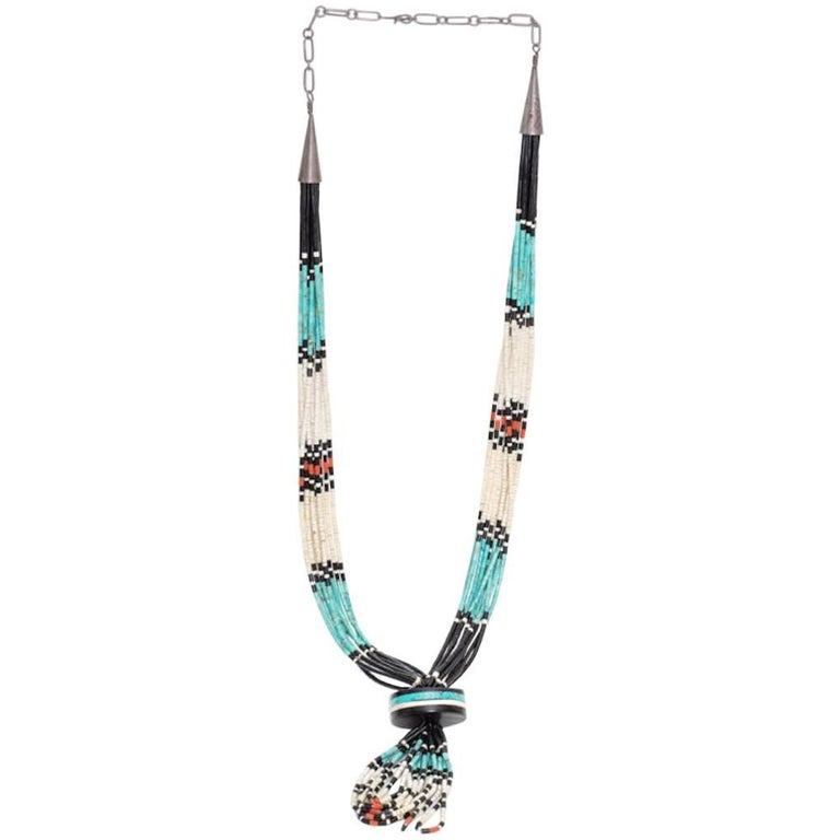 Navajo Beaded Necklace with Turquoise, Onyx and Coral