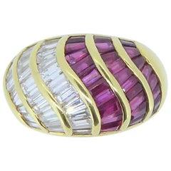David Morris Ruby and Diamond 18 Carat Yellow Gold Ring