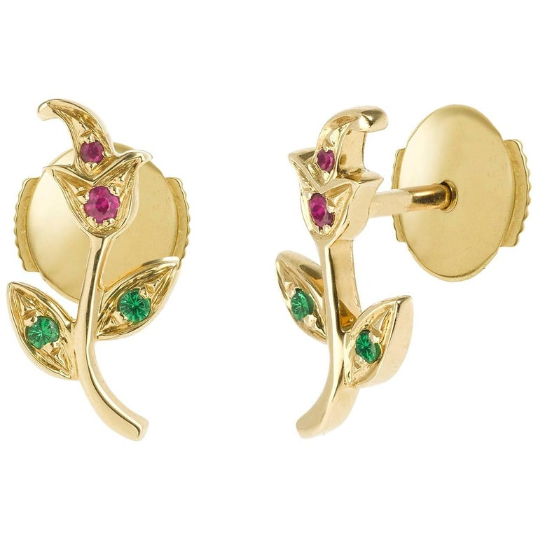 Yvonne Leon's Rose Earring in Yellow Gold 18 Carat with Ruby and Tsavorites