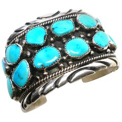 Handsome Native American Turquoise Sterling Cuff Bracelet