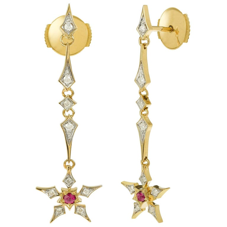 Yvonne Leon's Earring Star in 18 Karat Yellow Gold with Diamonds and Ruby