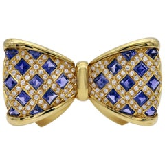 Diamond and Iolite Gold Bowtie Brooch