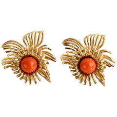Coral Flower Gold Earrings