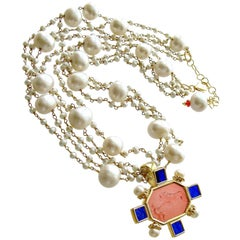 Freshwater Pearls Salmon Pink Cobalt Blue Venetian Glass Intaglio Cameo Necklace
